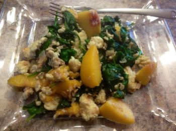 spinach and peach scramble